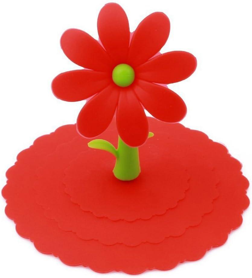 Red grazioso copri tazza in silicone Silicone bismarckbeer antipolvere taglia unica per tazze da t/è e bicchieri con fiore