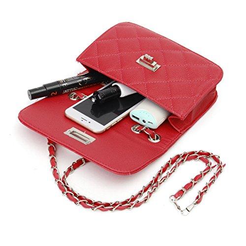 Correa Negro Bolso de Bolso Cuerpo hombro cruzado de Acolchado de Mujer Rojo noche OURBAG Cuero cadena Xp6PwAq