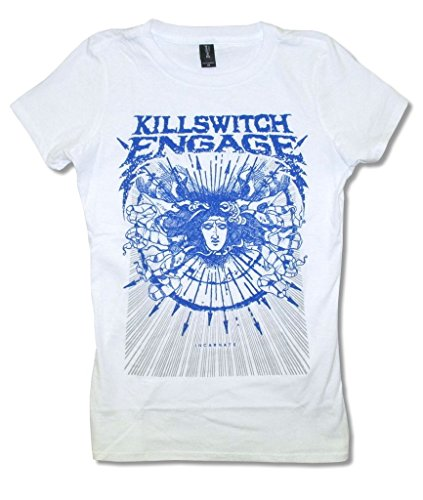 Killswitch Engage Medusa White Juniors Slim Fit Baby Doll T Shirt (S)