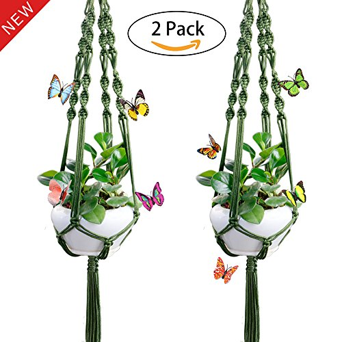 2 Pack Macrame Plant Hanger with Ring and Butterfly for Indoor Outdoor Plant Decoration, 4 Legs Flower Pot Plant Holder, 41.3 Inches Green (Hangers Army)