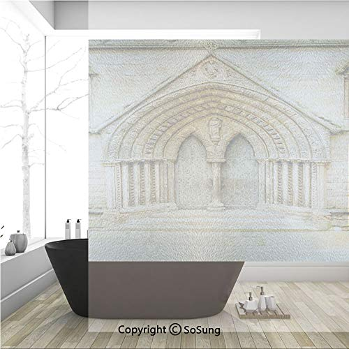 3D Decorative Privacy Window Films,Medieval Middle Age Cathedral Door Exit with Gothic Ornate Features Great Britain Uk Theme,No-Glue Self Static Cling Glass film for Home Bedroom Bathroom Kitchen Off