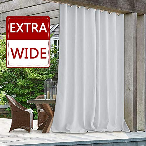 StangH Outdoor Curtain Panel 100 x 84 - Patio Outdoor Waterproof Extra Wide Large Drapery Blackout Thermal Insulated Sliding Door Blind for Corridor/Deck, Greyish White, Single Panel