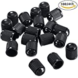 #1: Auzeuner Plastic Tyre Valve Dust Caps for Car, Motorbike, Trucks, Bike and Bicycle, 100 Pack (Black)