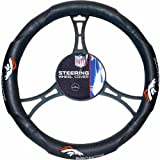15 X 15 Inches NFL Broncos Steering Wheel Cover, Football Themed Three Sides Team Logo Name Vibrant Rubber Grip Sports Patterned, Team Logo Fan Merchandise Athletic Team, Orange Blue Black White, Pvc
