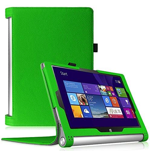 Fintie Lenovo Yoga Tablet 2 (10,1 Zoll FHD IPS) Hülle Case Cover Tasche Etui - Folio Kunstleder Schutzhülle mit Auto Sleep / Wake (geeignet für Lenovo Yoga Tablet 2-10 25,7 cm Tablet (Android und Windows Version), Grün