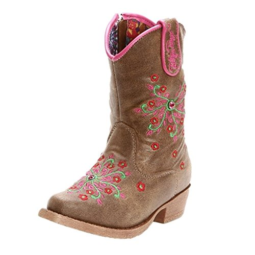 Blazin Roxx Girls' Savvy Embroidered Cowgirl Boot Snip Toe Brown 1 D(M) -