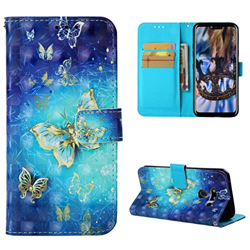 LG G8 ThinQ Case, LG G8 ThinQ Wallet Flip Folio Case, 3D PU Leather Wallet Case Kickstand Card Holders Magnetic Front Closure Soft TPU Inner Shell Shockproof Colorful Painting Cover Openwork butterfly