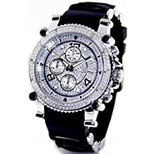 JOJINO Real Diamond Watch by Joe Rodeo Watch Chronograph Mens Silver Case Black Rubber Band MJ-1130