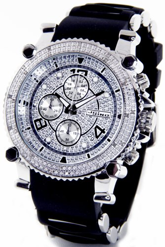 Jojino Real Diamond Watch Chronograph Mens Silver Case Black Import It All