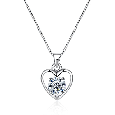 PHABBLE 925 Sterling Silver White Round Shaped Cubic Zircon With Classic Design Fashion Necklace Heart for Women in a Jewellery Box ifI0nJd