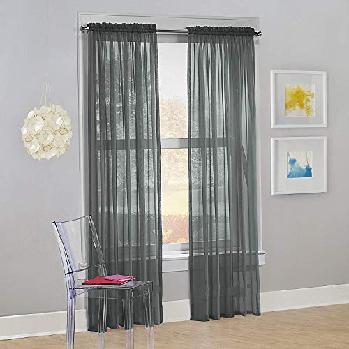 "Decotex Set of 2 Sheer Voile Transparent Window Panel Curtain Drapes (54"" W X 95"" L, Gray)"