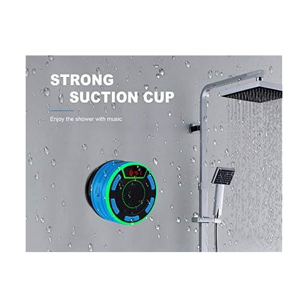 Enceinte Bluetooth, moosen IPX7 étanche Portable sans Fil Haut-Parleur Bluetooth avec FM Radio, LED Display, TWS and Light Show, Waterproof Shower Speaker pour Salle de Bains Pool Plage Outdoor 4