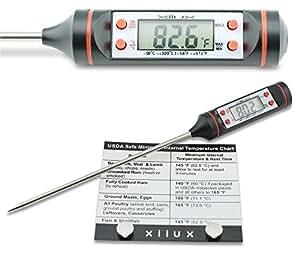 xilux carne termómetro + imán para nevera + batería extra para barbacoa, parrilla, carne
