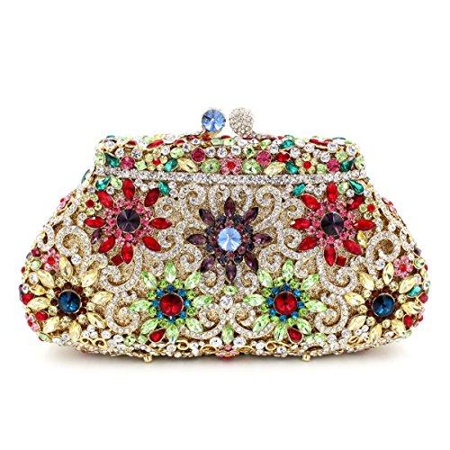 de de de Gold la Couronne de Sac Embrayage Sac de papillon luxe de diamant cristal sac dîner strass de métal creux de en qPCwIwxRB