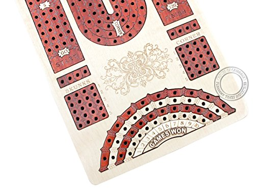 House of Cribbage - Continuous Cribbage Board Maple / Bloodwood and Side Drawers : 4 Tracks with place to mark won games