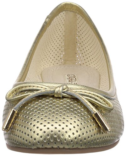 Lea 3502 Women's 213 01 London Closed Gold Buffalo Ballet Toe Sheep Metallic Gold Flats XTfEq