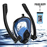 Full Face Snorkel Mask, HJKB K2 Free Breathing Snorkeling Mask with Double Tubes and 180° Panoramic Viewing, Zero Fog and Anti Leak Guarantee with Camera Mount for Adult (Black + Blue, Medium Adult)