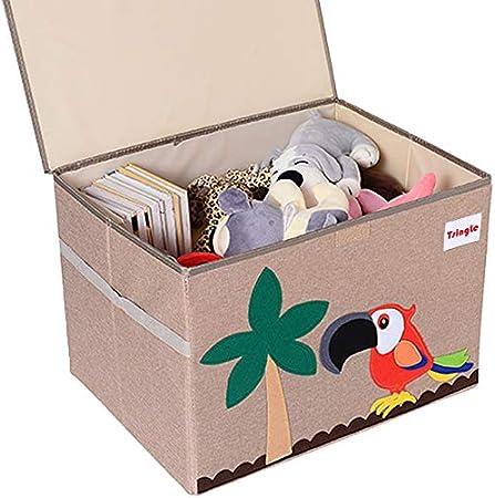 TsingLe - Cajas de almacenamiento para juguetes con tapa, tamaño grande, para guardar juguetes, libros, ropa de cama, 36 x 52 x 35 cm, 65 L (loro): Amazon.es: Hogar