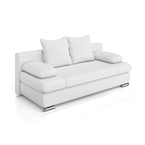 Schlafcouch weiß  Vicco Schlafsofa Couch Sofa PU Leder Chicago Federkern Schlafcouch ...