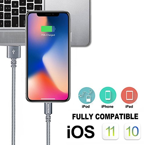 Maitron Phone Charger,4PACK (3FT & 6ft) Nylon Braided Charging Cable Cord USB Cable Charger Compatible iPhone X 8 8 Plus 7 7Plus 6s 6sPlus 6 6Plus 5 5s 5c SE iPad iPod & More (Grey) by Maitron (Image #4)