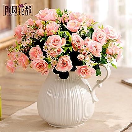 Xin Pang Phalaenopsis Emulación Continental Maceta Flores Artificiales Flores Decorado Salón con Mesa De Comedor Hilado