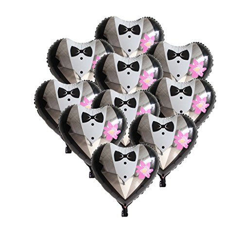 Homyl Pack of 10 Bridal Dress Groom Tuxedo Foil Helium Balloon Wedding Engagement Party Decor 18'' - Groom Tuxedo, as described