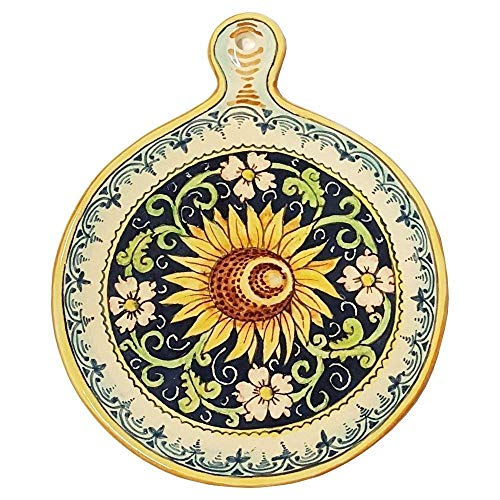 (CERAMICHE PARRINI - Italian Ceramic Art Utensil Kitchenware Tile Trivet Pottery Sunflower Hand Painted Made in ITALY Tuscan)