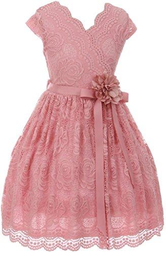 Big Girl Cap Sleeve V Neck Flower Border Stretch Lace Corsage Belt Flower Girl Dress (20JK66S) Rose 10