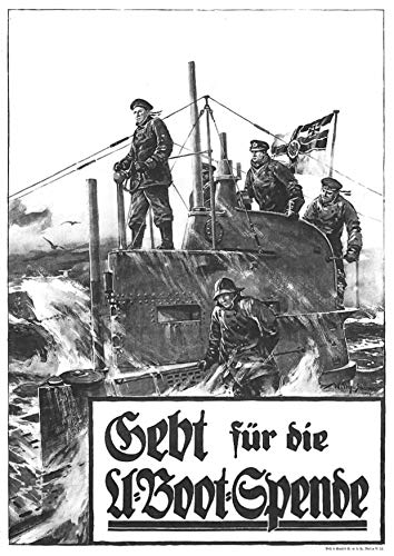 UpCrafts Design WW1 Propaganda Poster Replica - German Imperial U Boat Submarine - Military History Memorabilia Decor (8.3x11.7 inches (A4 Size), Black Wood Framed Poster)