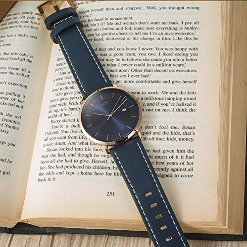 MDC Mens Minimalist Classic Analog Watch Blue Leather Ultra Thin Wrist Watches for Men with Date Dress Business Casual by MDC (Image #6)