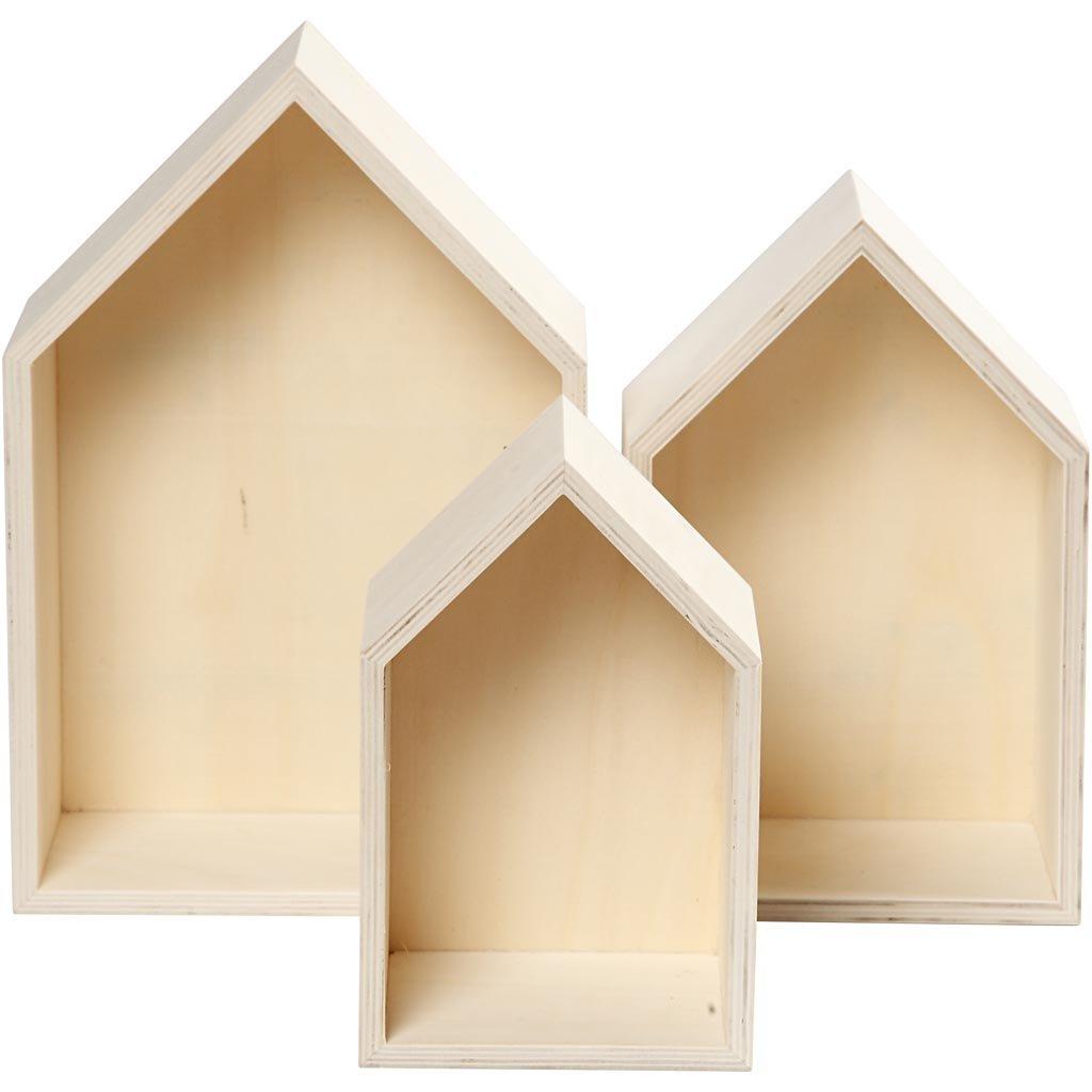 Juego de 3 cajas de madera para estantería, en forma de casas, arte de pared - B-Stock