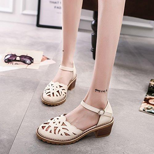 Moda Mujer verano sandalias confortables tacones altos,36 gun colour apricot