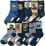 Kids Boy's Fashion Cartoon Dinosaurs Pattern Sport Socks 10 P