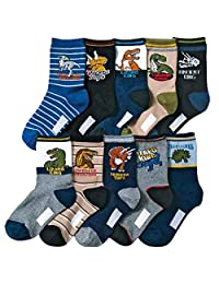 Kids Boy's Fashion Cartoon Dinosaurs Pattern Sport Socks 10 Pairs