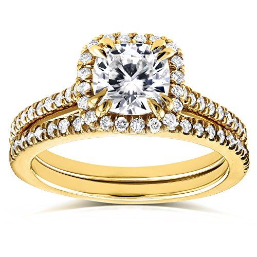 (Forever One D-F Moissanite and Diamond Halo Cathedral Bridal Set 1 1/2 CTW in 14K Yellow Gold, Size 7.5, Yellow Gold)