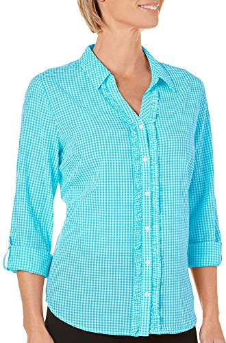 Erika Womens Ruffle Button Front Gingham Plaid Top Large Mermaid Blue (Plaid Front Ruffle Shirt)
