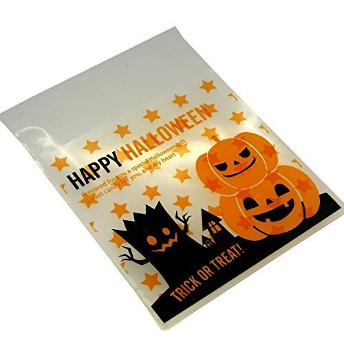 Halloween Treat Bags for Cookie, Candy, Chocolate, 10x10cm, Pack of 95, Pumpkin Design Halloween Cello Bags