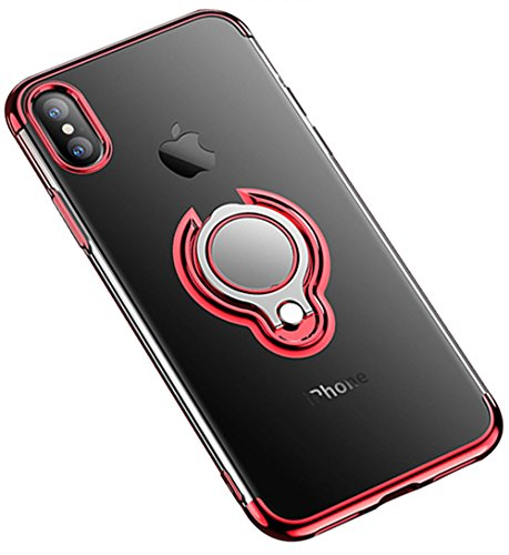 iPhone Xs Max XR Case Crystal Clear Soft Slim Ring Holder Kickstand Back Cover (iPhone XR 6.1inch, Red)