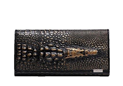 Eastylish Women's Luxury Wax Genuine Cow Leather Crocodile Clutch Wallets Card Holder Organizer Ladies Purse Bronze