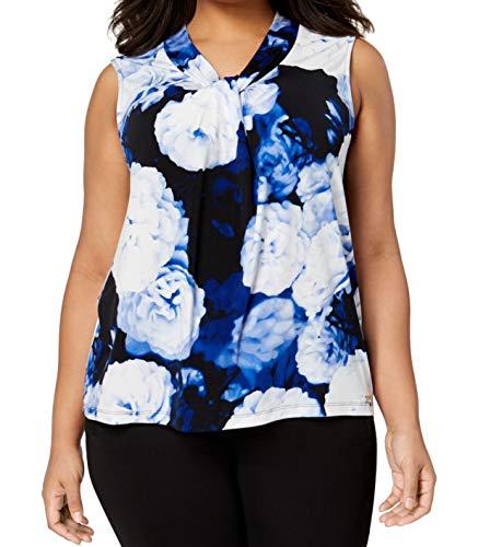 Calvin Klein Womens Plus Twist-Neck Floral Print Pullover Top Blue 1X (Calvin Klein Print Pullover)