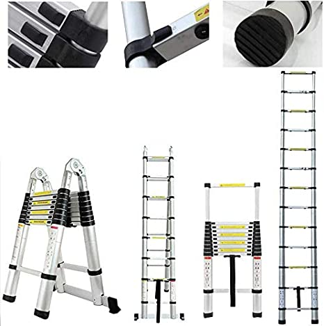 Telescopic Ladder A-Type 16.5FT Aluminum Extension Folding Telescoping Non-Slip Steps Portable Multi-Purpose for Home//Building Maintenance Decoration with Support Bar EN131 Standard MAX Load 330lb