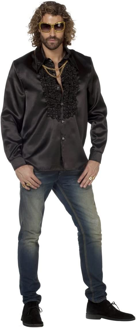 Volantes para hombre traje negro camisa de manga larga, tamaño 50 - 64: Amazon.es: Juguetes y juegos