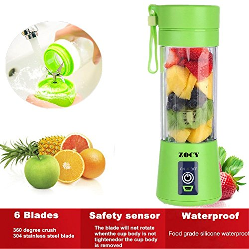 ZOCYE [New Version] Personal Blender USB Juicer Cup Portable Juicer Blender 6 Blades Rechargeable Fruit Mixing Machine For Baby Travel 380ml(Green) (Portable Rechargeable Blender)