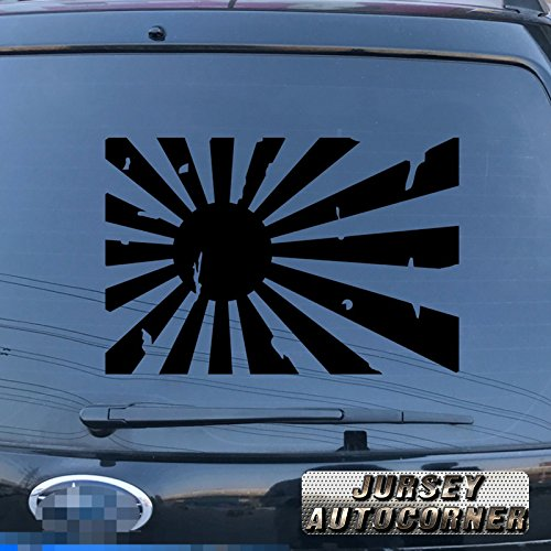 Jursey Auto Japanese Rising Sun Decal Sticker Car Vinyl Roundel Variant flag of Japan Naval pick size color die cut no background (black, 12'' (30.5cm))