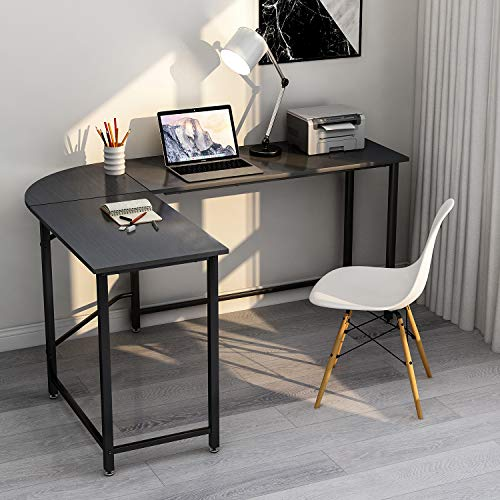 ModernLuxe WF036968BAA L-Shape Home Office Corner Computer Desk PC Laptop Table Workstation Wood & Metal (Black)