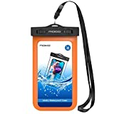 MoKo Waterproof Phone Pouch, Underwater CellPhone Case Dry Bag with Lanyard Armband Compatible with iPhone 11/11 Pro Max, X/Xs/Xr/Xs Max, 8/7/6 Plus, Samsung S10/S9/S8 Plus, S10e, A10E, Note 10,Orange