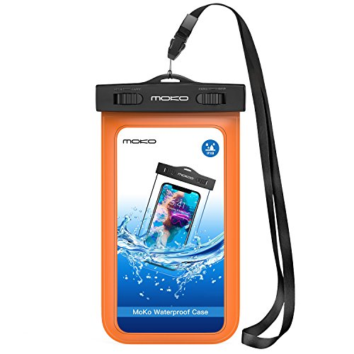 MoKo Waterproof Phone Pouch, Underwater Waterproof Cellphone Case Dry Bag with Lanyard Armband Compatible with iPhone X/Xs/Xr/Xs Max, 8/7/6s Plus, Samsung Galaxy Note, S10/S9/S8 Plus, S10 e, S7 Edge