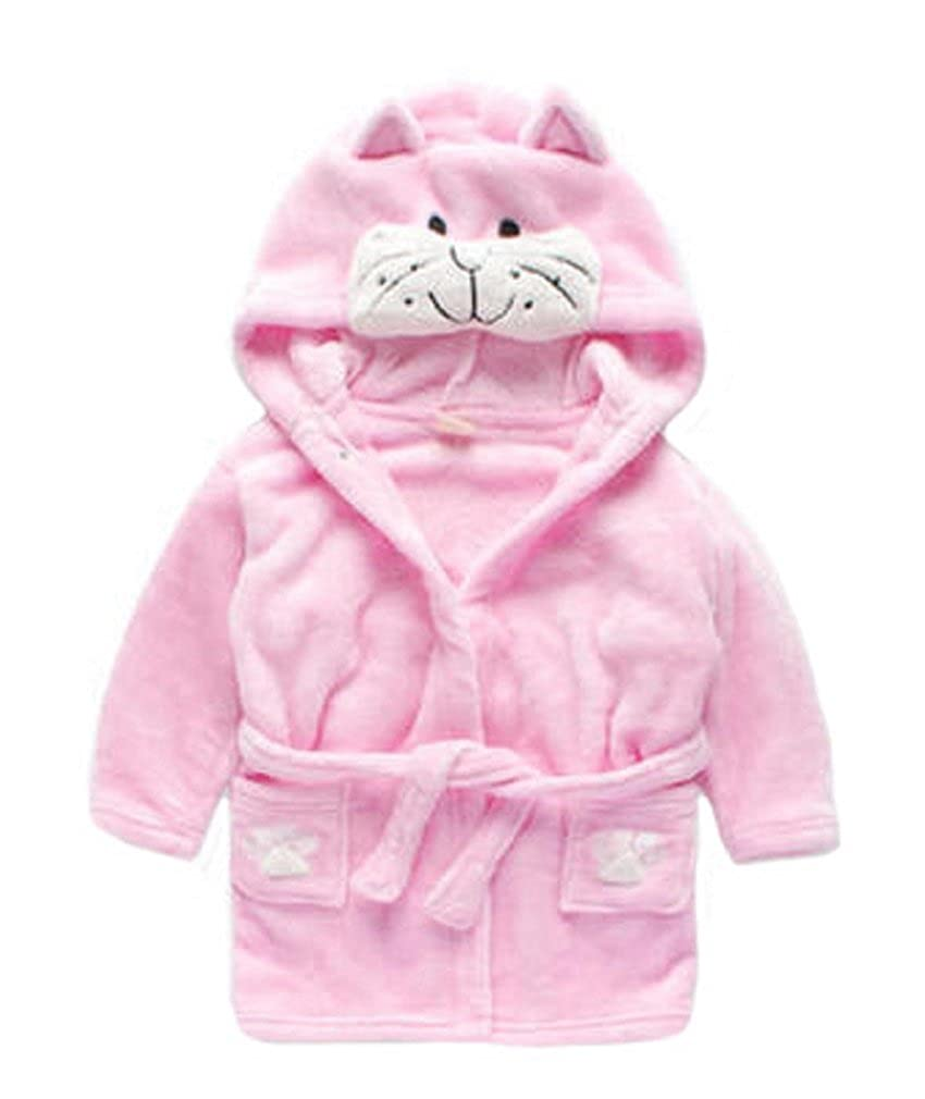 Vanbuy Toddler Boys Girls Animal Hooded Bath Robe Unisex Kids Fleece Christmas Pajama Sleepwear Swimming Robe