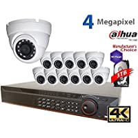 Dahua 4K NVR Security Package: 16CH 4K NVR4416-16P-4KS2 w/3TB Security Hard Drive+ (12) 4MP Outdoor IR HDW1431 2.8MM Eyeball (Free Upgrade from 3MP, NO LOGO OEM Local Support)