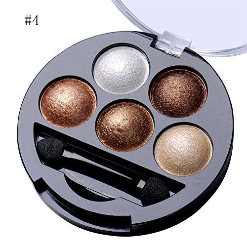 5 Colors Eyeshadow Palette Shimmer Eye Shadow Powder Makeup Cosmetic Brush Set